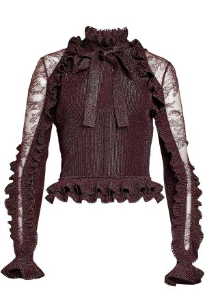 Pullover with Metallic Thread and Lace Gr. FR 38