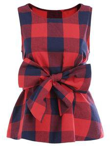 Red Plaid Sleeveless Puplum Blouse with a Bow Belt – THE BAD OUTFIT