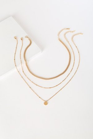 Gold Layered Necklace - Chain Necklace - Circle Charm Necklace