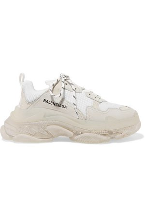 Balenciaga | Triple S Clear Sole logo-embroidered leather, nubuck and mesh sneakers | NET-A-PORTER.COM