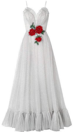 Embellished Flocked Tulle Gown - White