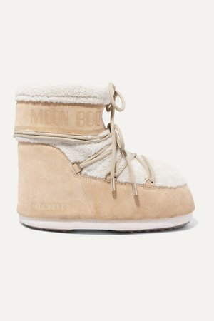 Shearling And Coated-suede Snow Boots - Beige