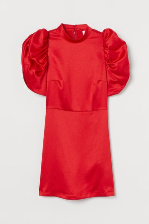Puff-sleeved Satin Dress - Red