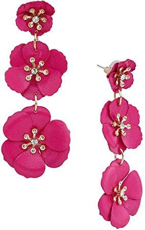 Amazon.com: NVENF Flower Dangle Earrings for Women Tiered Petal with Crystal Center Triple Flowers Dangling Earring Fashion Jewelry Stud Drop Earrings(White): Jewelry