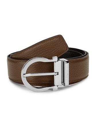 Salvatore Ferragamo Gancio Reversible Leather Belt | SaksFifthAvenue