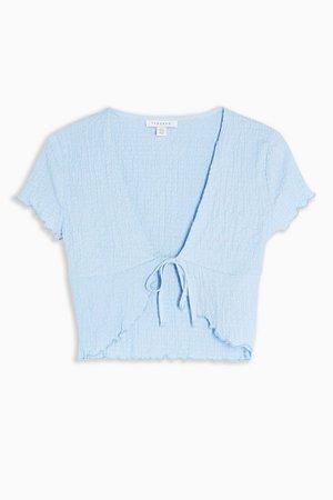Blue Crinkle Crop Cardigan   Topshop