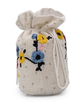GANNI Floral Beaded Bucket Bag - Farfetch