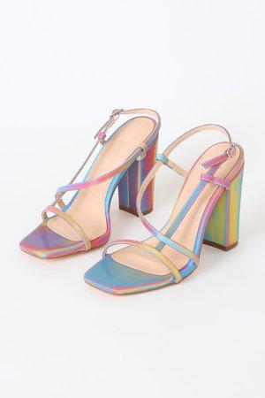 Lulu's - Etta Multi Holographic High Heel Sandals