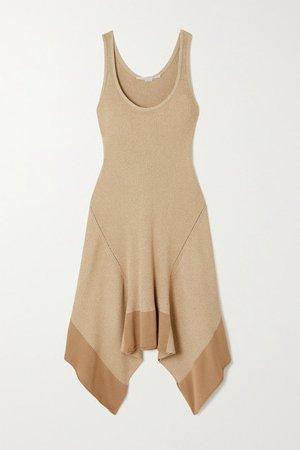 Asymmetric Ribbed Organic Cotton-blend Dress - Beige