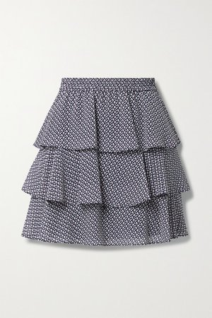 Tiered Ruffled Floral-print Crepe De Chine Mini Skirt - Navy