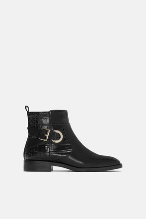 FLAT ANKLE BOOTS WITH BUCKLES - View all-SHOES-WOMAN   ZARA New Zealand