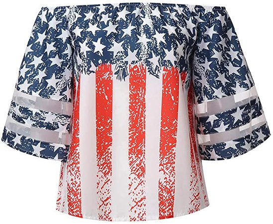 Amazon.com: OSTELY Crop Tops for Women Casual American Flag Off Shoulder Mesh Panel Blouse 3/4 Bell Sleeve T-Shirts(Red,L): Clothing