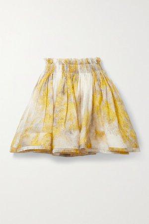Wild Botanica Shirred Floral-print Linen And Silk-blend Mini Skirt - Yellow