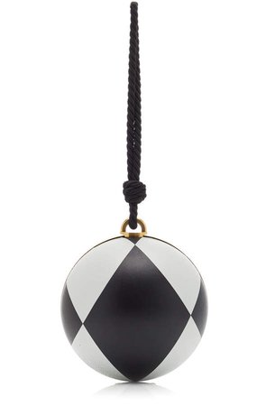 Oscar de la Renta Billiard Diamond-Printed Leather Clutch