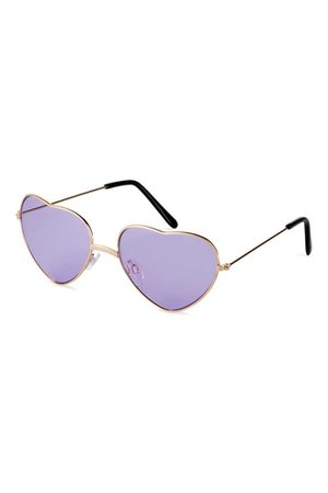 Heart-shaped sunglasses - Gold-coloured/Purple - Ladies | H&M GB