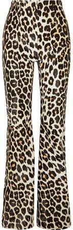 Newman Leopard-print Calf Hair Flared Pants - Leopard print