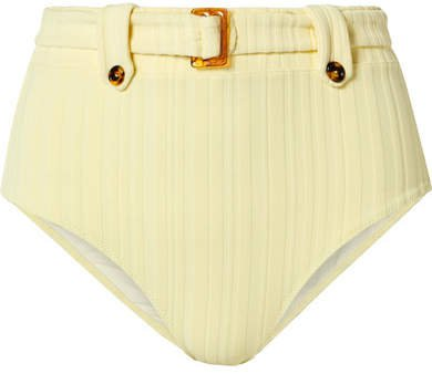 The Annie Belted Ribbed Bikini Briefs - Pastel yellow