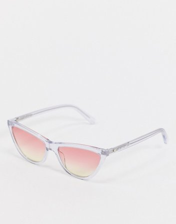 Love Morchino cat eye sunglasses in clear frame and ombre lens | ASOS