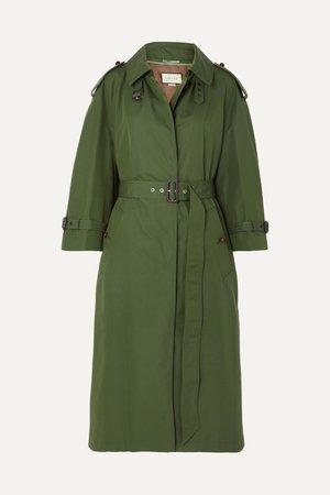 Green Oversized cotton-blend gabardine trench coat | Gucci | NET-A-PORTER