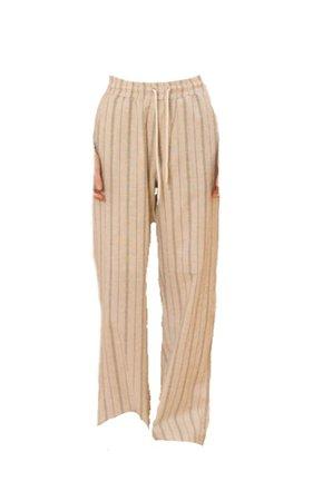 TMO BY 13MONTH Stripe Wide Cotton Pants Beige