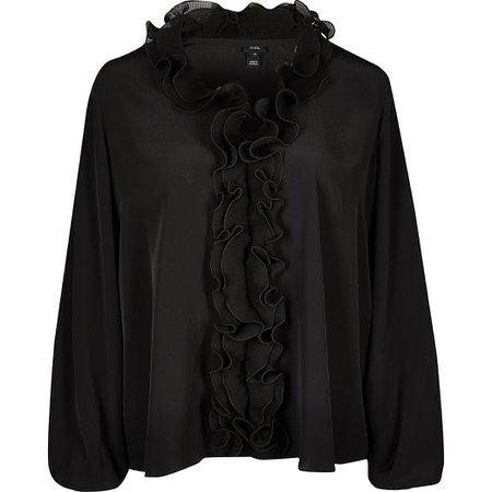 Black ruffle plisse long sleeve blouse top | River Island