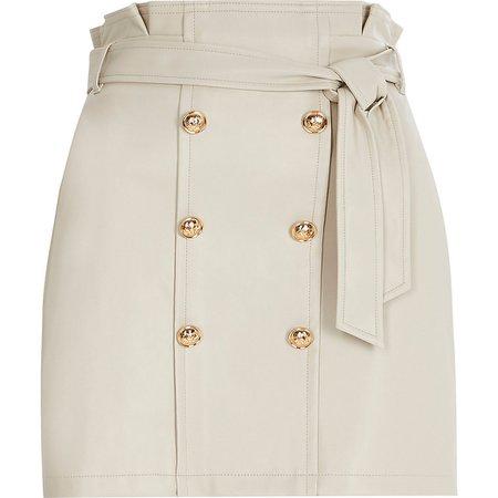 Petite cream button through mini skirt | River Island