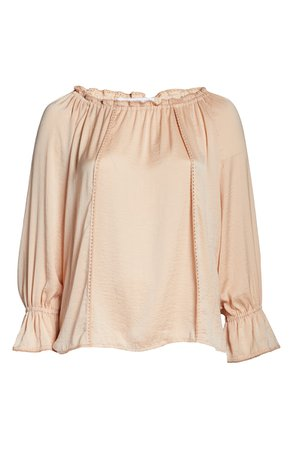 Single Thread Embroidery Trim Peasant Blouse (Plus Size) | Nordstrom