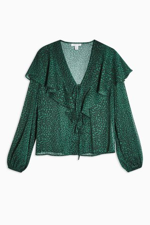 Green Animal Frill Tie Front Blouse | Topshop