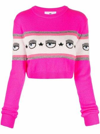 Chiara Ferragni intarsia-knit Cropped Jumper - Farfetch