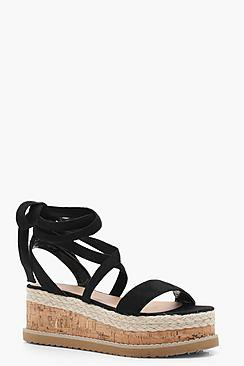 Lola Flatform Espadrille Tie Up Sandals