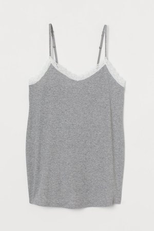 MAMA Ribbed Cotton Camisole - Gray