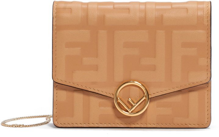 FF Embossed Leather Wallet on a Chain