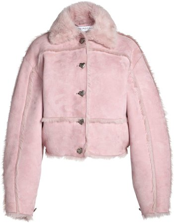 Saks Potts Kahlo Oversized Shearling Cropped Jacket