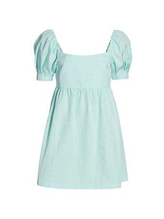 Alice + Olivia Bauery Puff-Sleeve Dress   SaksFifthAvenue
