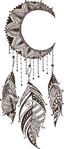 Dainty Brown Henna Flower Moon Dream Catcher Drawing Vinyl Decal Stick – Shinobi Stickers