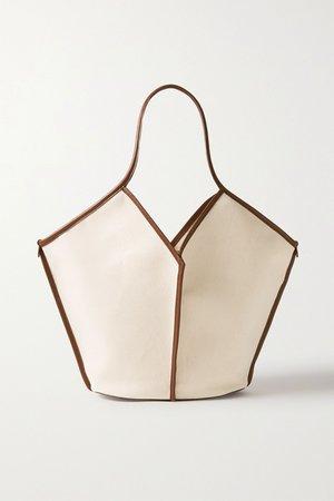 Ecru + NET SUSTAIN Calella leather-trimmed organic cotton-canvas tote | HEREU | NET-A-PORTER