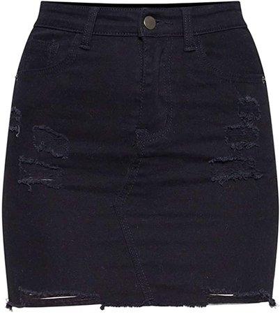 Angelegant Jean Skirt Women's High Waisted Fringed Slim Fit Elastic Bodycon Mini Denim Skirt (S, Black Hole Washed)
