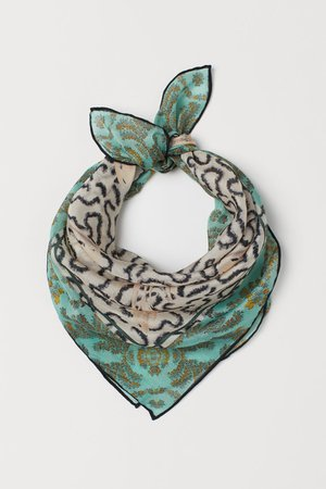 Small Silk-blend Scarf - Light beige/patterned - Ladies | H&M US