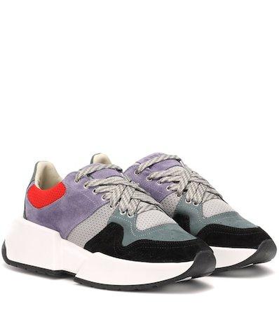 Paneled suede sneakers