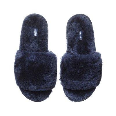 SOXO Women's slippers sheepskin navy blue | Slippers \ Classic WOMEN \ Slippers | Wholesale socks, slippers