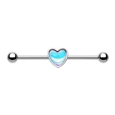 Simple Revo Heart Inlay Industrial Barbell - * Rebel Bod *