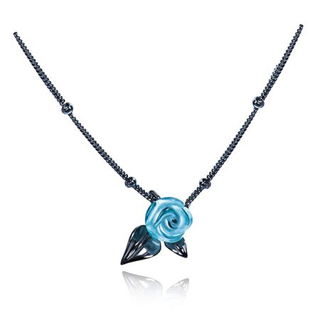 Black Thorn Blue Rose Necklace