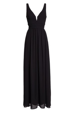 Lulus V-Neck Chiffon A-Line Gown   Nordstrom