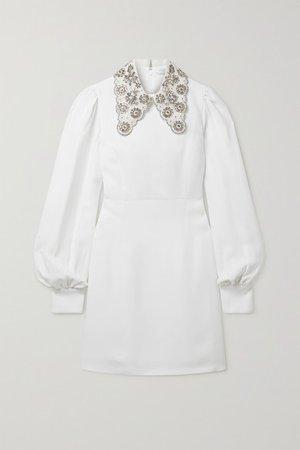 Embellished Tulle-trimmed Crepe Mini Dress - White