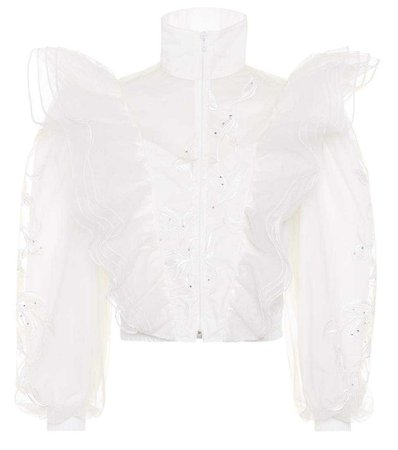 VETEMENTS EMBROIDERED TULLE JACKET, WHITE | ModeSens