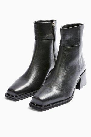 MYSTIC Leather Black Square Toe Boots | Topshop