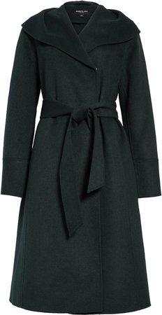 Shawl Collar Wool Blend Wrap Coat