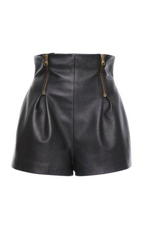Leather High Waisted Mini Shorts by Versace | Moda Operandi