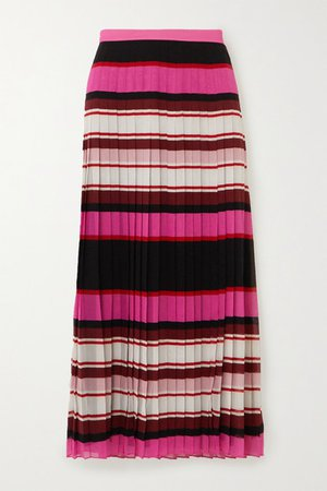 Pleated Striped Silk-georgette Midi Skirt - Pink