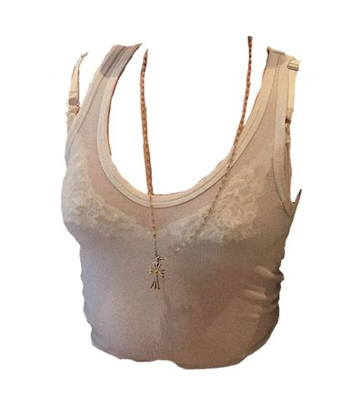 sheer white tank gold necklace